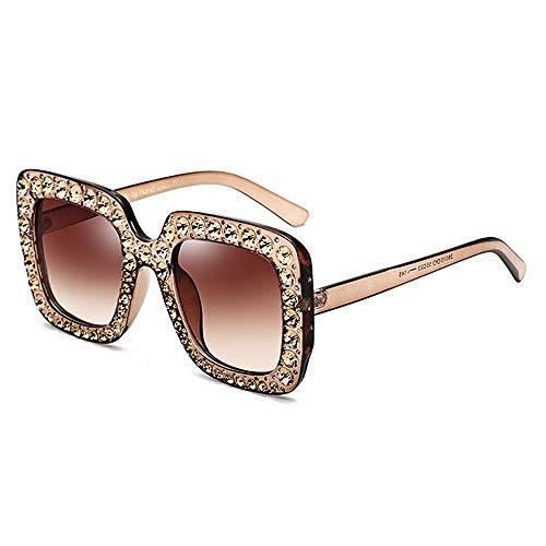 XHCP Frauen polarisierte Klassische Fliegersonnenbrille, übergroße Kristalldamenbrille Quadratische Sonnenbrille für Frauen umrandete Sonnenbrille UV-Schutz Persönlichkeit Coole Damen-Bling-Bling