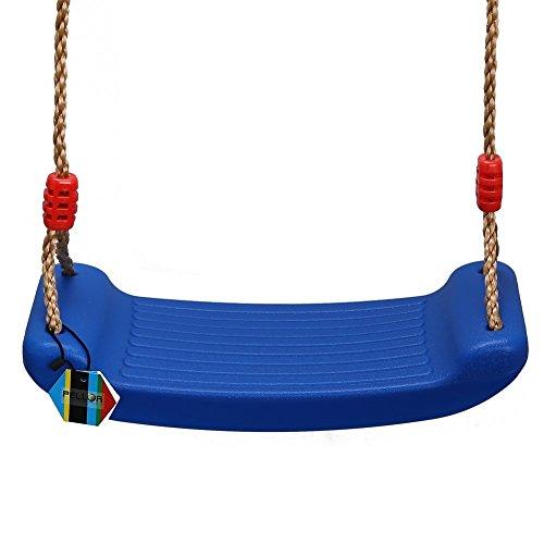 PELLOR Outdoor Spiel Kinder Beste Geburtstagsgeschenk Blasgeformten Kunststoff Einstellbar Seillänge Schwingen Swing Sitz (Blau ohne Karabiner)