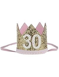 Malloom Bebé Lentejuelas Cumpleaños Sombreros de corona, Diademas de flores elástico (30)