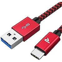 Cable Tipo C, Rampow Cable USB Tipo C a USB 3.1 Gen 1 [USB C a USB A] Trenzado de Nylón Cargador Rápido - GARANTÍA DE POR VIDA - para Samsung S8/Note 8/9, MacBook Pro 2016, LG G6/G5, ChromeBook Pixel - 1M Rojo