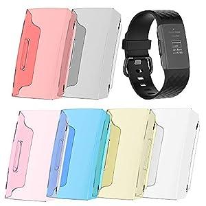 samLIKE Schutzhülle für Fitbit Charge 3 für Herren und Damen Schutz Hülle PC + Harz Weich Stoßfest Anti-Kratz Zübehor Kompatibel mit Fitbit Charge 3, 6 Farben