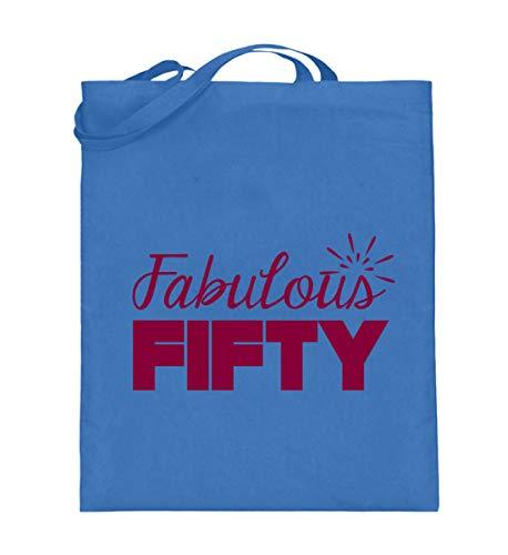 50. Geburtstag: Fabulous Fifty - Geschenk - Gift Idea - 50th Birthday - Jutebeutel (mit langen Henkeln) -38cm-42cm-Blau