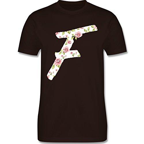Anfangsbuchstaben - F Rosen - Herren Premium T-Shirt Braun