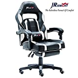 JR Knight LC-04BKW Ergonomic Gaming Chair With Footrest, Professional Gamer Design Home Office