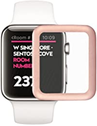 LEORX Película Cristal Templado Premium para Apple Watch, 38 mm Full Cover Edge Protector de pantalla de metal para Apple Watch (Oro Rosa)