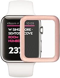 LEORX Película Cristal Templado Premium para Apple Watch, 38mm Full Cover Edge Protector de pantalla de metal para Apple Watch (Oro Rosa)