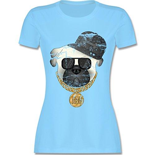 Hunde - Bad Boy Mops Vintage - Damen T-Shirt Rundhals Hellblau