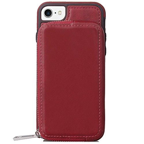 Großer Kapazitäts-Mappen-Beutel-Abdeckungs-Fall mit Reißverschluss Retro- ebene Beschaffenheit PU-lederne rückseitige Abdeckung für iPhone 6 u. 6s ( Color : Brown ) Red