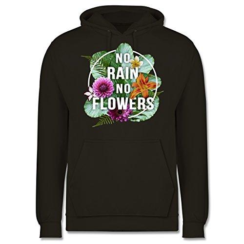 Blumen & Pflanzen - No Rain No Flowers - Männer Premium Kapuzenpullover / Hoodie Olivgrün