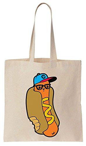 Funny Urban Hipster Hot Dog Tote Bag Baumwoll Segeltuch Einkaufstasche (Oversized Tote Baumwolle)