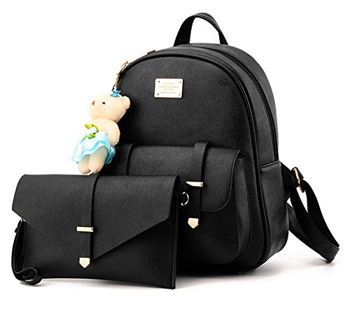 yaagle-women-girls-pu-casual-backpack-shoulder-bag-with-bear-key-chain-handbag2pcs
