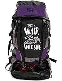 Mufubu Presents Get Unbarred 55 LTR Rucksack for Trekking, Hiking with Shoe Compartment (Black/Purple)