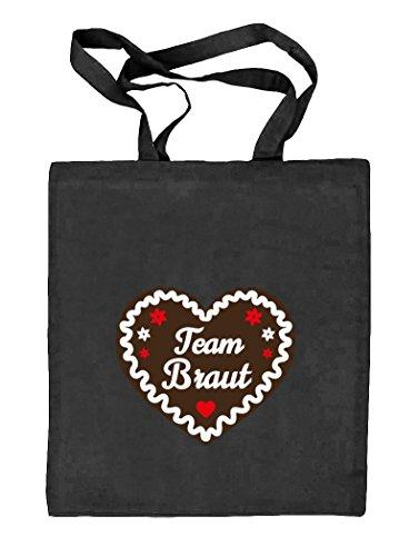 Jga 68 - Team Bride Gingerbread Heart, Bachelor Party Nature Fabric Juta Bag Black Nature