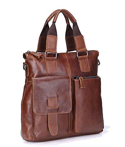 Xinmaoyuan Männer Handtaschen Retro Handtasche vertikalen Abschnitt Leder Herren Business Aktentasche Umhängetasche, Braun Braun