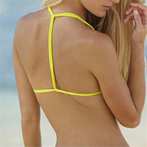 sypure (TM) donne push-up Reggiseno imbottito Set Bikini brasiliano costume da bagno bagno triangolo costumi da bagno, Yellow, large