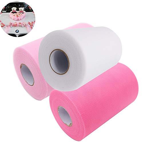 Tulle rolls,rocchetto di tessuto,rotoli di tessuto tutu fai da te, decorazioni per feste di compleanno di matrimoni,materiale per imballaggi di fiori(3 pacchetti, deep powder,rosa chiaro,bianco)