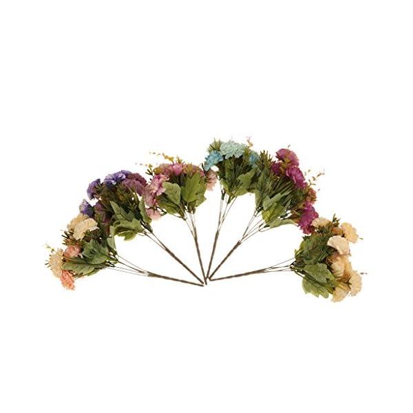 2 Manojo Plantas Flores de Crisantemos Artificial Ramo Decoración Hogar Patio – rojo