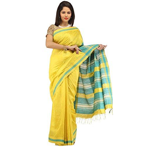 Romi's Pure Tussar Silk Handloom Saree (Yellow)