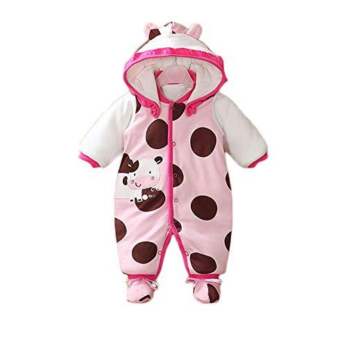 Anywow Säugling Baby Strampler Mädchen Jungen Winter Gewicht Hoodies Jumpsuit Rentier Overalls Weihnachts Bodysuit mit Schuhen 0-12 Monate