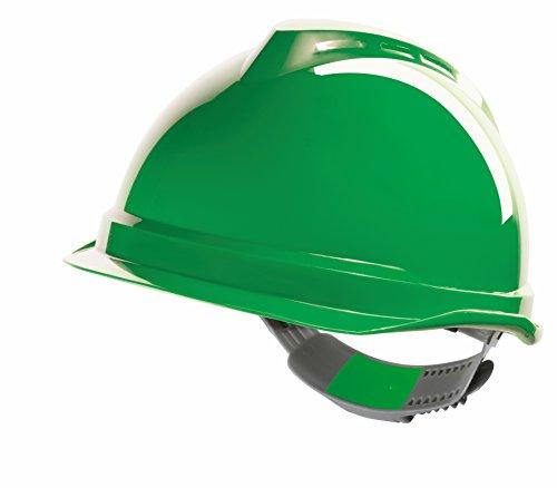 MSA Safety GV941-0000000-000 V-Gard 520 Schutzhelm, Push-Taste Folie adj, genähte PVC s/b, Grün - Pvc-taste