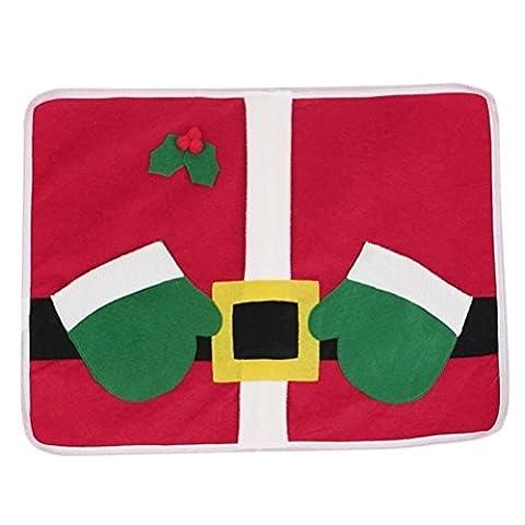 OULII Weihnachtsplatz mat Weihnachtsmann Geschirr Messer Gabel Mahlzeit Pad Dekoration Nette Xmas Tisch Tischset