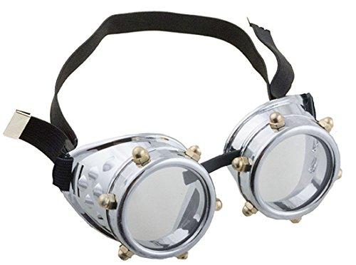 Confettery - Kostüm Steampunk Brille Schutzbrille Schrauben mit Gummi, (Kostüm Nerd Overall)