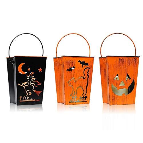 3Pack Halloween lampada appendente di candela all'interno, candela flessibile a led per giardino, 4 e 8 ore timer, speciale disegno vuoto con bastone a forma di strega e Jack'face a forma di impressio