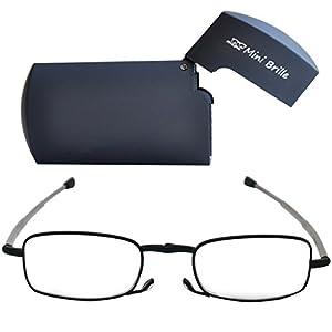 Kompakte faltbare Lesebrille aus Metall mit Teleskop-Bügeln | GRATIS Flip Top Etui | klappbare Faltbrille aus Metall | Lesehilfe für Damen & Herren von Mini Brille
