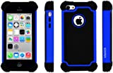 SOOPER Defender Heavy Duty Protective Hybrid Cover Case For Apple iPhone 5c (Blue)