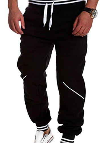 jeansian Estate Tendenze Moda Uomo Sport Casuale Pantaloni Della Tuta Harem Pants S379 Black L