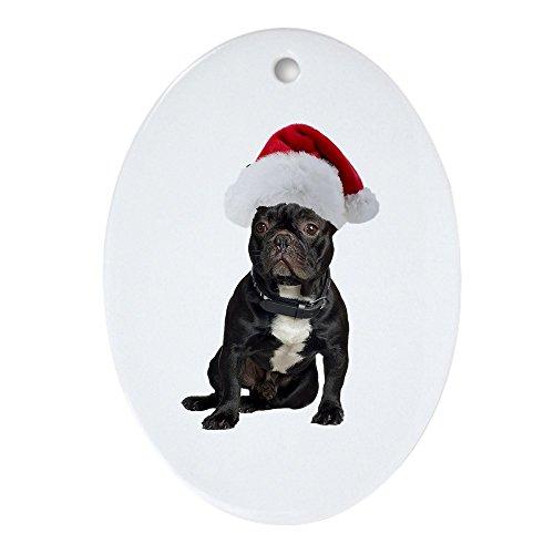 CafePress-Französische Bulldogge Weihnachten-oval Urlaub Weihnachten Ornament