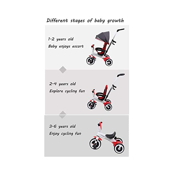 BGHKFF 3 In 1 Childrens Tricycles 1 To 6 Years Light And Sturdy Kids Tricycle 3-Point Safety Belt Folding Sun Canopy Handlebar Child Trike Maximum Weight 25 Kg,Red BGHKFF ★Material: Magnesium alloy one frame, suitable for children from 1 to 6 years old, the maximum weight is 25 kg ★ 3-in-1 multi-function: convertible into stroller and tricycle. Remove the hand putter and awning as a tricycle. ★Safety design: 3-point seat belt, front wheel clutch, safer on the way, rear wheel brake, lock rear wheel, built-in steering link 3