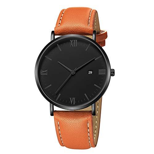 Malloom, Luxus Quarz Ultradünne 8mm Edelstahl Zifferblatt Lederband Armbanduhr silberfarben Paul Valentine uhrzeiger