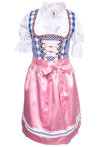 Alpenmärchen, 3tlg. Dirndl-Set - Trachtenkleid, Bluse, Schürze, Gr.32-60, blau-rosa, ALM3062