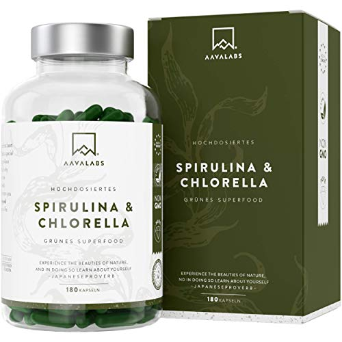 Spirulina Chlorella Algen Kapseln [ 1800 mg ] - 180 Pulver Kapseln - Hochdosiert, 100% vegan und glutenfrei - Hochwertige Pflanzeninhaltsstoffe aus Spirulina Alge - In Europa hergestellt.