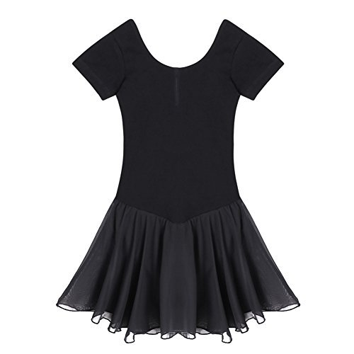 Yoliki Mädchen Kurzarm Rundhals-Trikotanzug-Kleid für (Wettbewerbs Mädchen Tanz Für Kostüme)