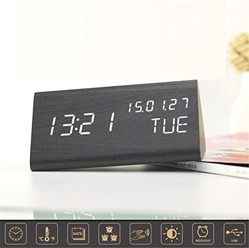 TRADE Dreieck hölzern LED Wecker,Modernes Design Stimme Betrieben Digitale Schreibtischuhr mit Zeit...