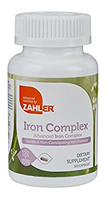 Zahlers Iron Complex, Complete Blood Building Iron Supplement with Ferrochel, Easy on the Stomach Iron Pills with Vitamin C, Optimal Absorption Iron Tablets, Certified Kosher, 100 Capsules by Advanced Nutrition by Zahler