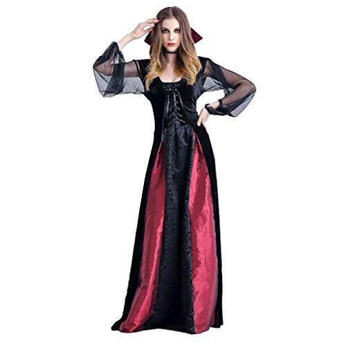 FRAUIT Damen Halloween Gothic Langes Kleid Vampir Hexe Kleider Cosplay Hexenkostüm Kostüm Schwarz Partykleid Temperament Göttin Königin Kleider Umhang Maxi - Vampir Rot Kleid Kostüm