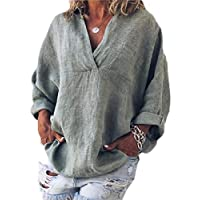 GAGA Women's T-Shirt V Neck 3/4 Sleeve Casual Cotton Linen Blouses Top 1 XXS