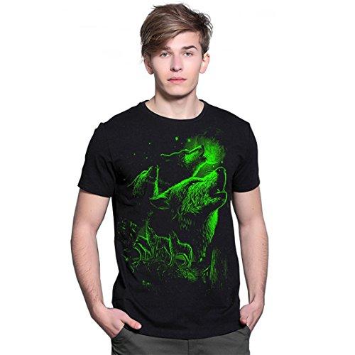SEVENWELL Herren Casual 3D Print Schwarz leuchtende Dark Leuchtende T Shirt Grundlegende Sommer Shirts Sieben Wölfe 2XL = US XL (Grundlegende Dunkle T-shirt)