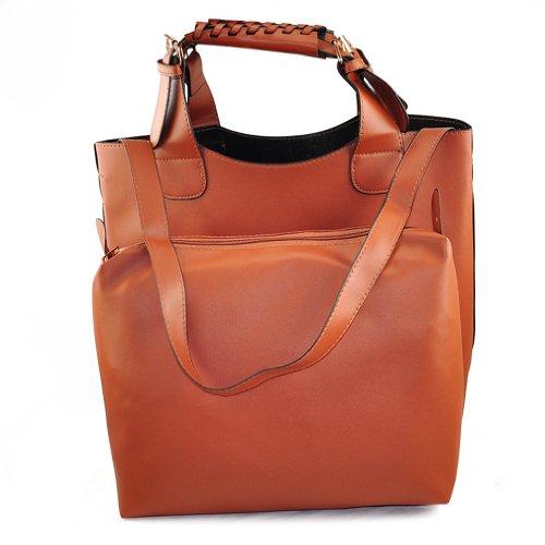 TOOGOO(R) Womens Celebrity Style Plaited Bucket Shopper Shopping Totes Hobo Shoulder Bag - Brown