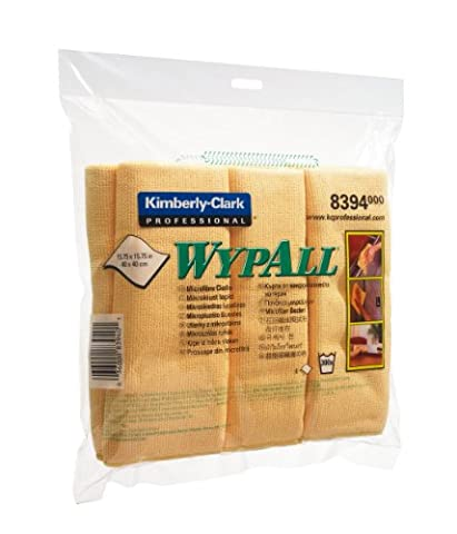 Wypall 8394 Lot de 6 chiffons de nettoyage en micro-fibre pour surfaces humides ou sèches (Jaune)