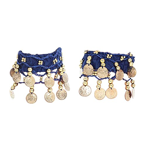 Amaoma Bauchtanz Fußkettchen, Belly Dance Bauchtanz Kostüm Handkette Armband Handschmuck Armbänder mit Goldfarbenen Münzen Für Tribal Dance Karneval Tanzaufführung, 1 Paar (Blau)