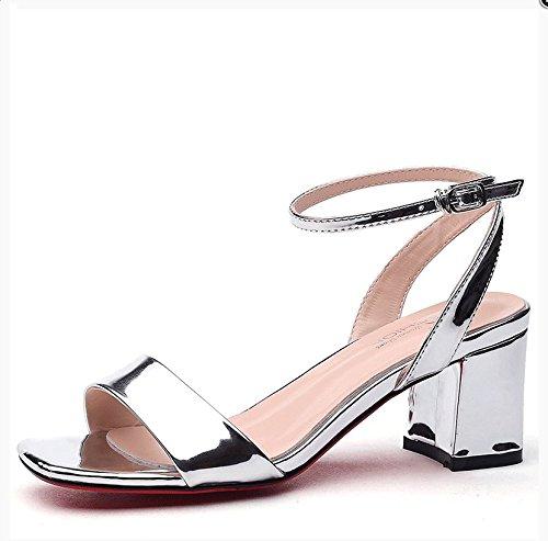 fan4zame ein Wort Schnalle Sandalen Ferse hochhackige Schuhe Modische Damen Sandalen Schuhe Cool bequem atmungsaktiv 37 Silver