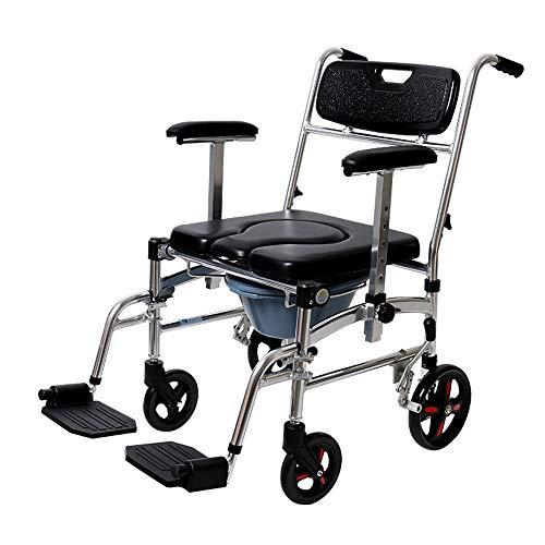 Wheelchair Carrozzina Portatile for Adulti Sedia Tacco Carrello Interno con Sgabello da Bagno Sedile WC Lega di Alluminio Ruota Piccola Anziani Disabili Veicolo A Spinta Manuale Multifunzionale