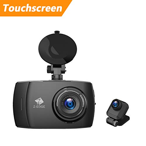 Z-Edge Car Dual Dash Cam, 4 inch Full HD Touchscreen, 1080P Front and Rear Camera Video Recorder, 155° Wide Angle Dual Lens, Loop Recording, G-sensor, Parking Monitor, WDR, 32G TF Card Included