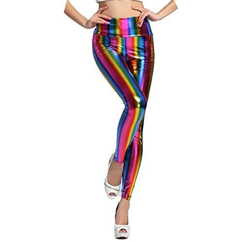 5d5bc3c474 SERWOO Leggings Mujer con Brillo Pantalones Leggings Brillantes Poliéster  de cuero de imitación para Carnaval (