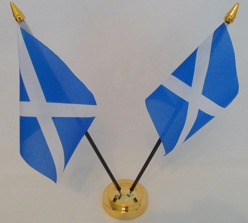 Schottland St Andrews Kreuz Saltire Scottish 2 Flagge Desktop Tisch Mittelpunkt Display mit Gold Boden (Flagge Scottish Saltire)