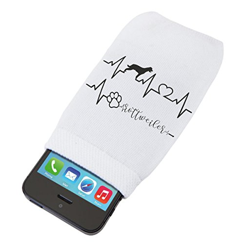 bubbleshirt Custodia morbida protettiva per smartphone Elettrocardiogramma rottweiler - love - dog - idea regalo - in cotone dimensioni: 14 x 8 cm
